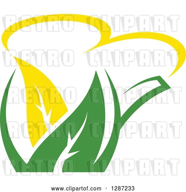 Vector Clip Art of Retro Green and Yellow Tea Pot with Leaves 7
