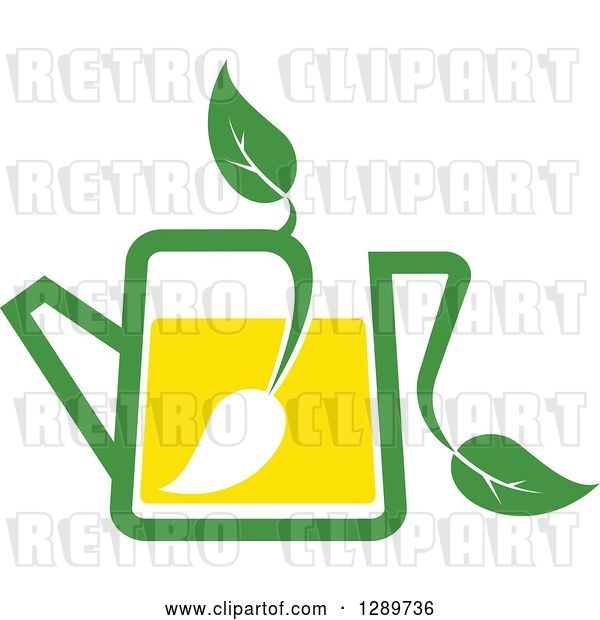 Vector Clip Art of Retro Green and Yellow Tea Pot with Leaves 8