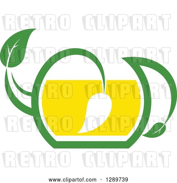 Vector Clip Art of Retro Green and Yellow Tea Pot with Leaves 9
