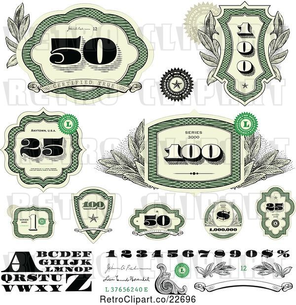 Vector Clip Art of Retro Green Cash Money Number and Letter Design Elements