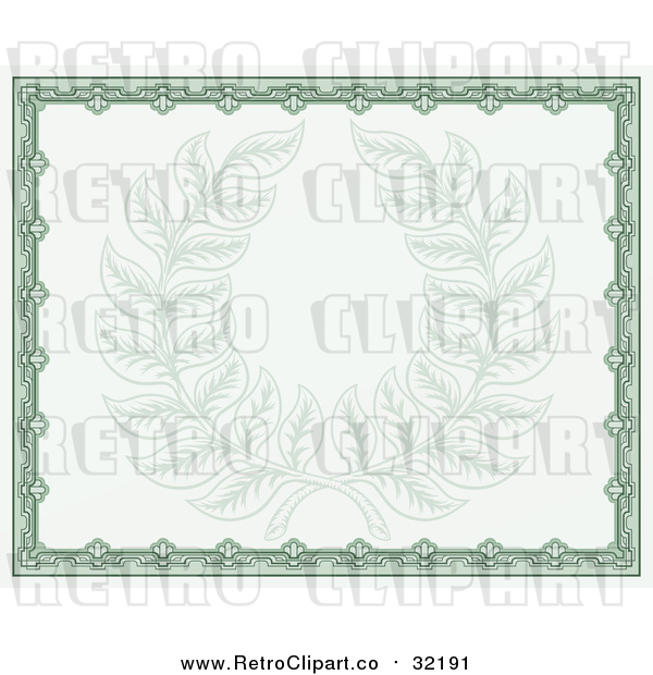 Vector Clip Art of Retro Green Certificate with Laurel Wreath