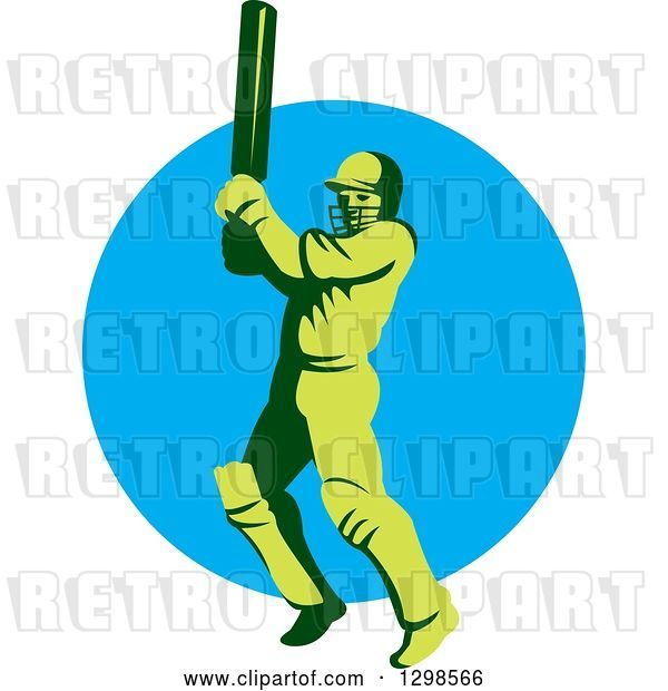 Vector Clip Art of Retro Green Cricket Batsman over a Blue Circle