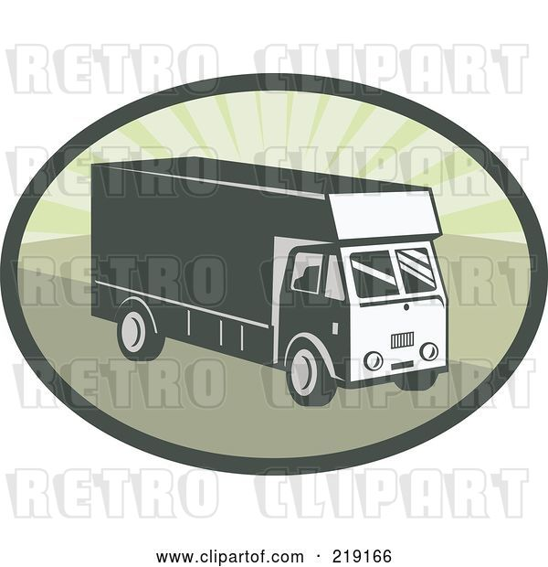 Vector Clip Art of Retro Green Delivery Van Logo