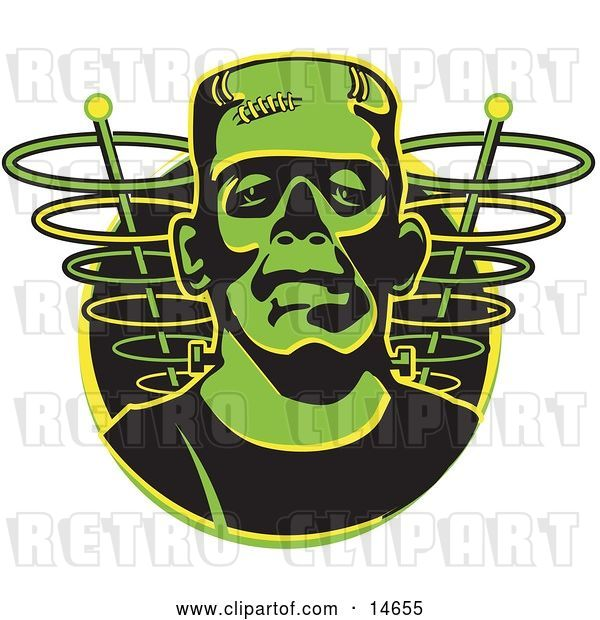 Vector Clip Art of Retro Green Frankenstein Monster