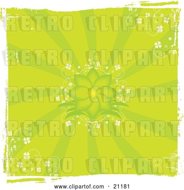 Vector Clip Art of Retro Green Grunge Floral Background with a Blooming Flower and Delicate White Flowers in the Corners