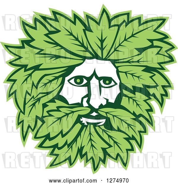 Vector Clip Art of Retro Green Guy Face with Leaves