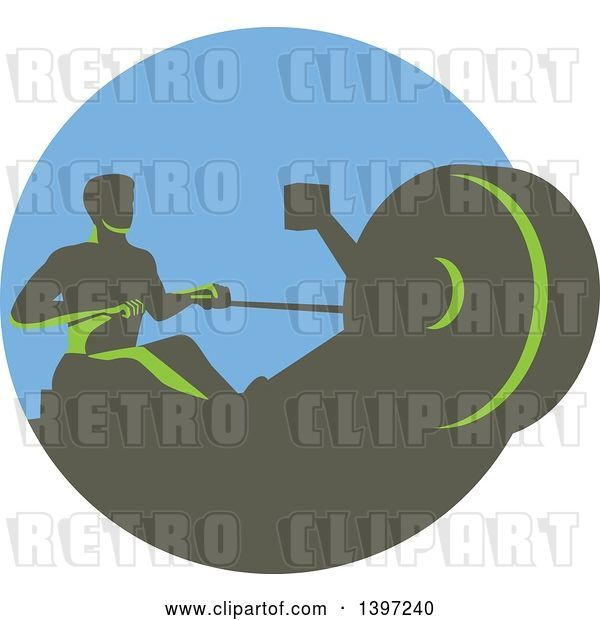 Vector Clip Art of Retro Green Guy Working out on a Rowing Machine, in a Circle
