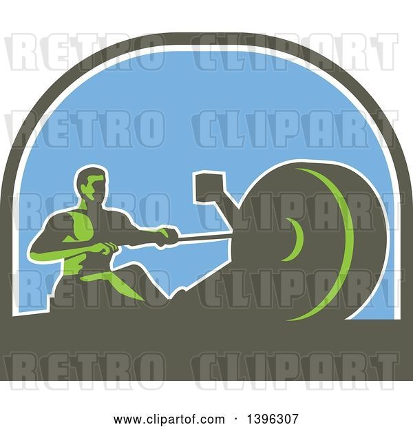Vector Clip Art of Retro Green Guy Working out on a Rowing Machine, in a Half Circle