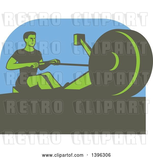 Vector Clip Art of Retro Green Guy Working out on a Rowing Machine, over Blue
