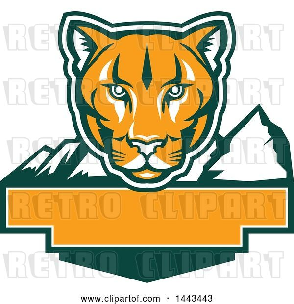 Vector Clip Art of Retro Green, Orange and White Puma Cougar Mountain Lion Face over Mountains and a Blank Banner