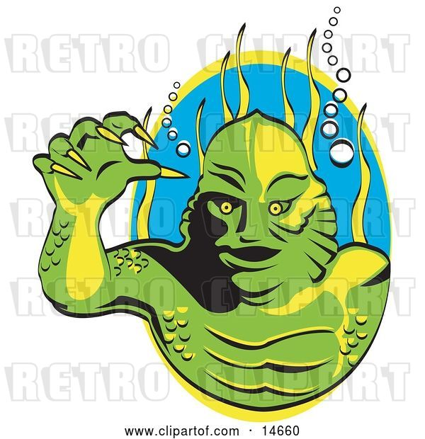 Vector Clip Art of Retro Green Swamp Monster with Yellow Talons and Scaly Skin, Breathing Underwater with Bubbles and Aquatic Plants Clipart Illustration