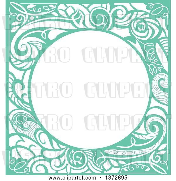 Vector Clip Art of Retro Green Swirl Floral Frame