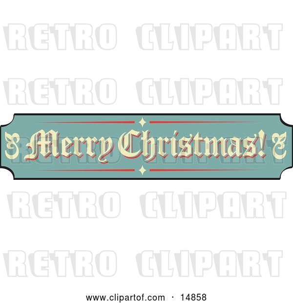 Vector Clip Art of Retro Green, Tan and Red Sign Reading Merry Christmas!