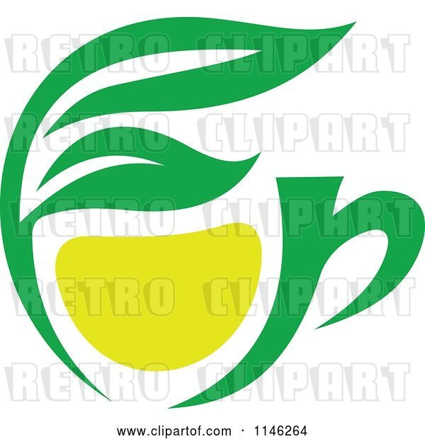 Vector Clip Art of Retro Green Tea Cup with Lemon and Leaves 1