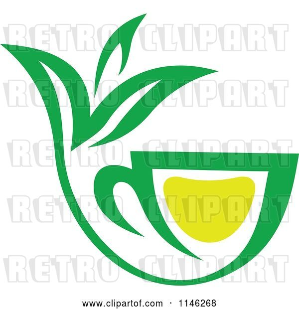 Vector Clip Art of Retro Green Tea Cup with Lemon and Leaves 5