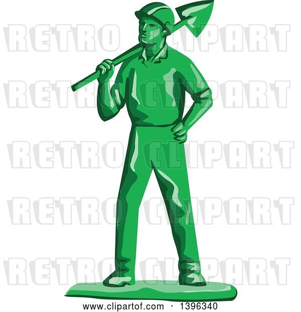 Vector Clip Art of Retro Green Toy Miner Worker Holding a Shovel