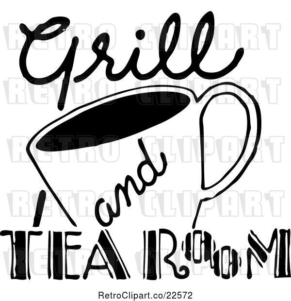 Vector Clip Art of Retro Grill and Tea Room Sign
