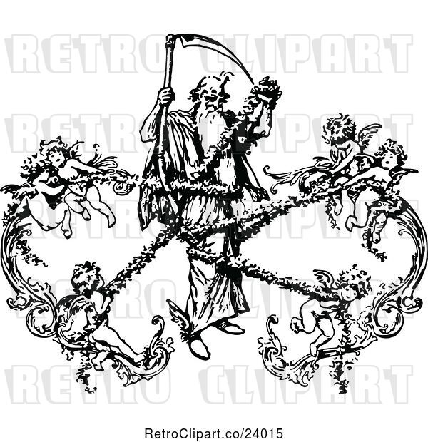 Vector Clip Art of Retro Grim Reaper Being Captured by Cherubs