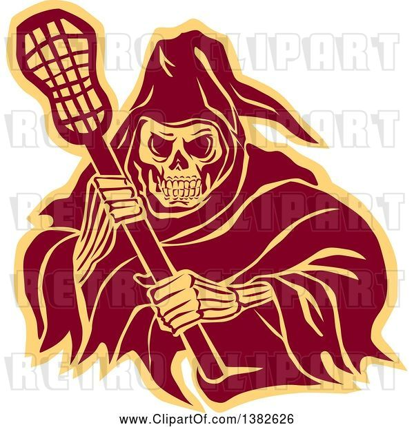 Vector Clip Art of Retro Grim Reaper Holding a Lacrosse Stick, in Brown and Yellow