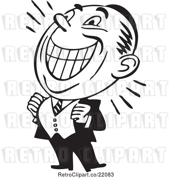 Vector Clip Art of Retro Grinning Business Man