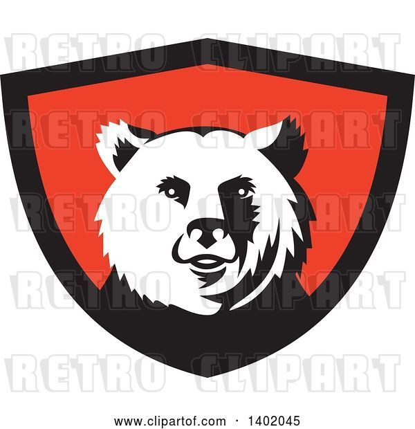 Vector Clip Art of Retro Grizzly Bear Head in a Black and Red Shield