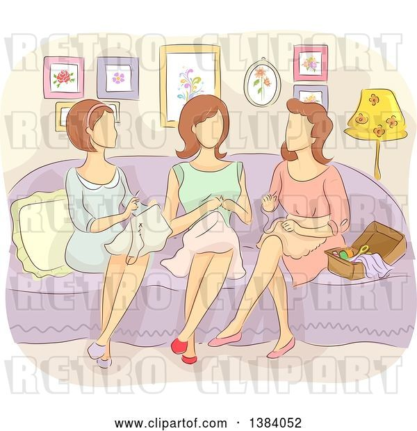Vector Clip Art of Retro Group of Faceless White Lady Sewing Together