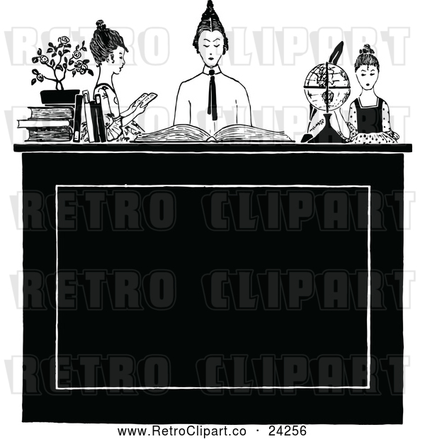 Vector Clip Art of Retro Group of Ladies Studying