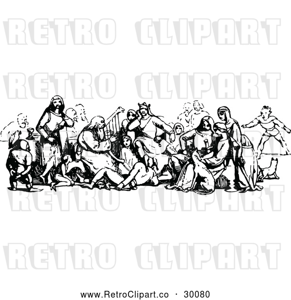 Vector Clip Art of Retro Group of Medieval People