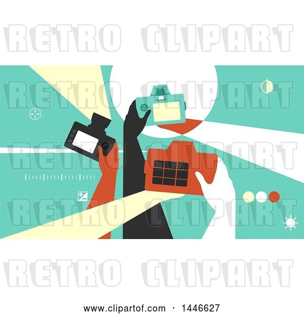 Vector Clip Art of Retro Group of Photographer Hands Taking Pictures with Cameras