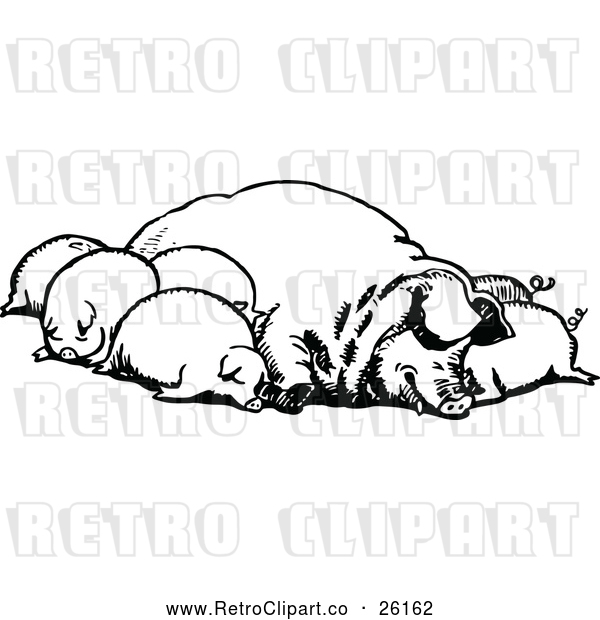 Vector Clip Art of Retro Group of Sleeping Pigs