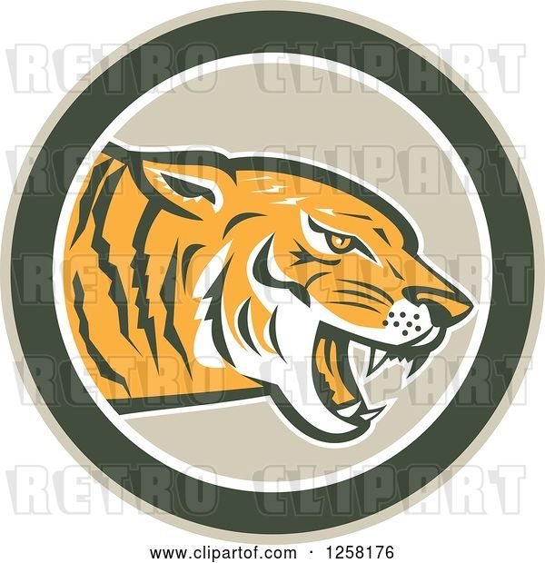 Vector Clip Art of Retro Growling Tiger Head in a Green Circle