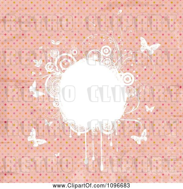 Vector Clip Art of Retro Grungy Pink Polka Dot Background with White Floral Grunge and Butterflies