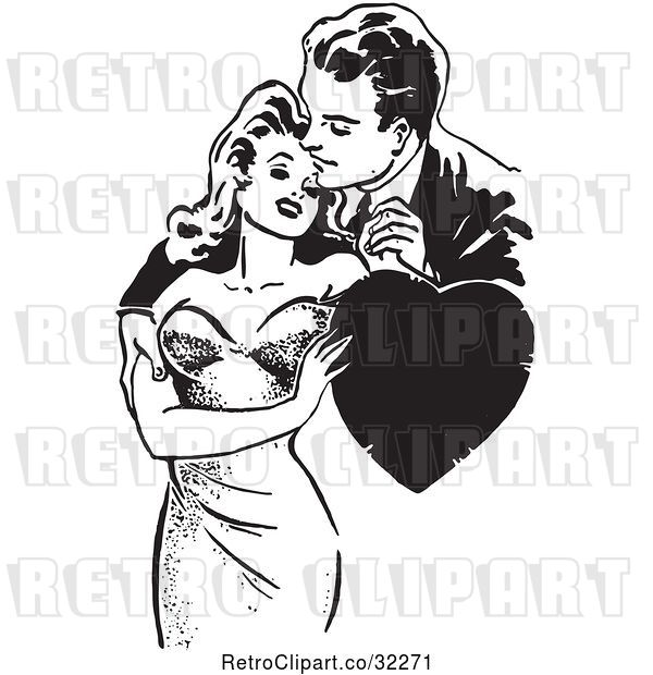 Vector Clip Art of Retro Guy and Lady Romanticly Embracing with a Heart in