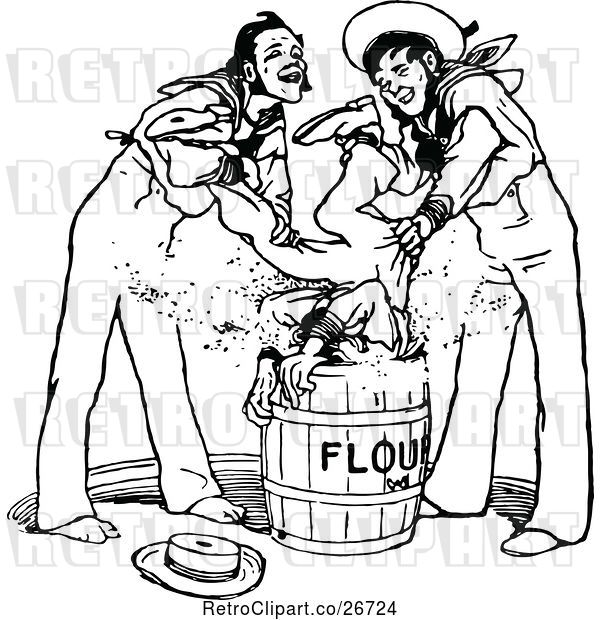Vector Clip Art of Retro Guy Being Dunked in Flour by Sailors