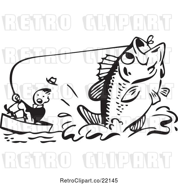 Vector Clip Art of Retro Guy Being Pulled by a Giant Fish