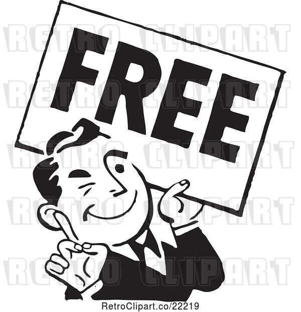 Vector Clip Art of Retro Guy Carrying a Free Sign
