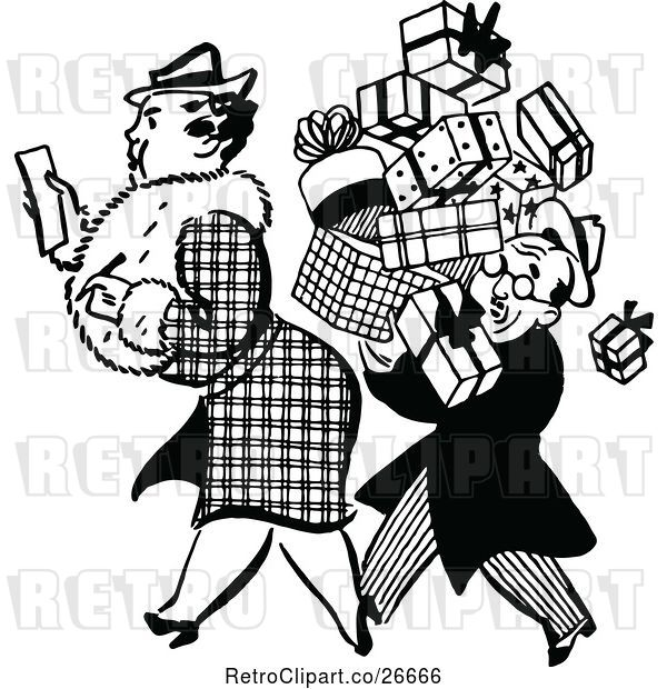 Vector Clip Art of Retro Guy Carrying a Shopping Womans Boxes