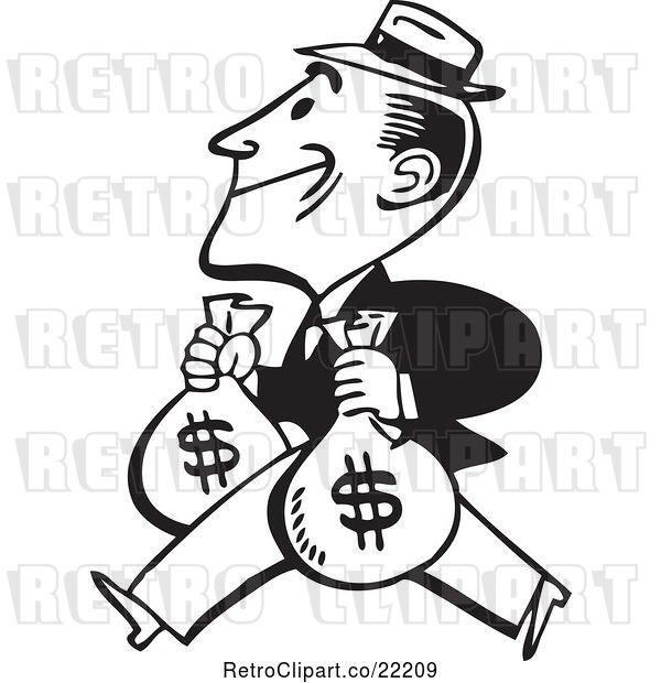 Vector Clip Art of Retro Guy Carrying Two Money Bags