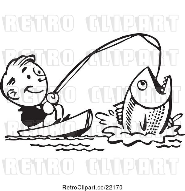 Vector Clip Art of Retro Guy Catching a Giant Fish