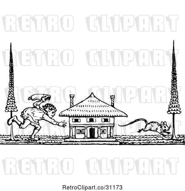 Vector Clip Art of Retro Guy Chasing a Mouse by a House