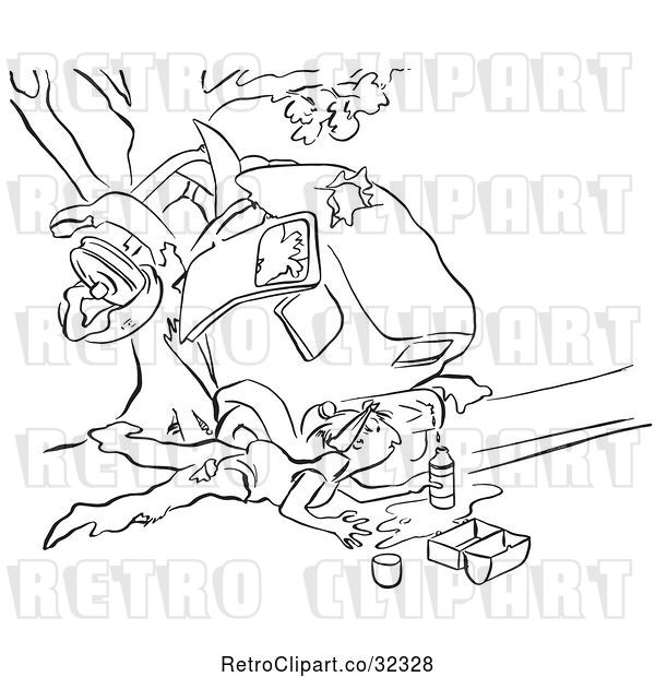Vector Clip Art of Retro Guy Collecting Gas from a Leaky Tank After a Car Wreck