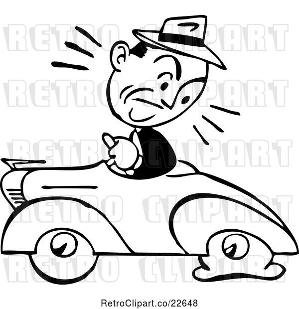 Vector Clip Art of Retro Guy Driving a Car with a Flat Tire