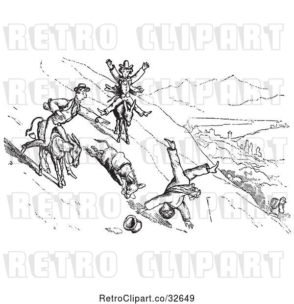 Vector Clip Art of Retro Guy Falling off a Donkey in 1
