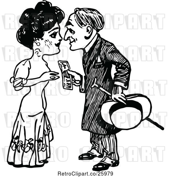 Vector Clip Art of Retro Guy Handing Money to a Lady