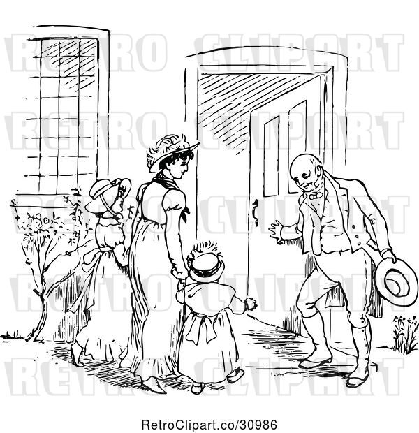 Vector Clip Art of Retro Guy Holding a Door for His Wife and KChildren