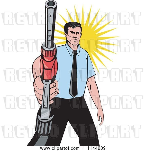Vector Clip Art of Retro Guy Holding a Gas Station Pump Nozzle