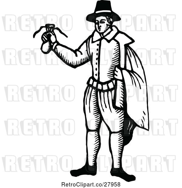 Vector Clip Art of Retro Guy Holding a Money Bag