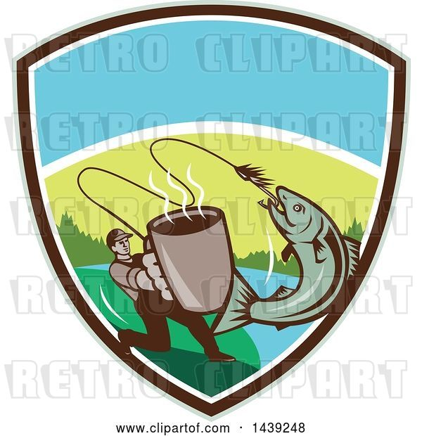 Vector Clip Art of Retro Guy Holding out a Coffee Mug and Reeling in a Hooked Salmon Fish in a Shield