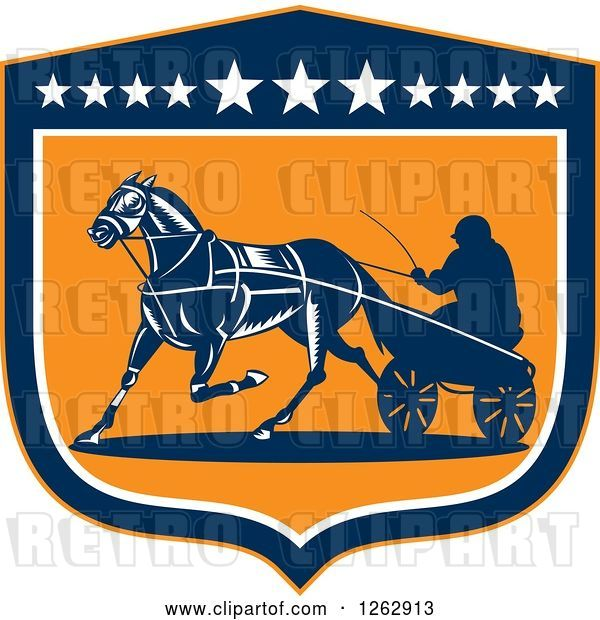Vector Clip Art of Retro Guy Horse Harness Racing in a Blue White and Orange Shield