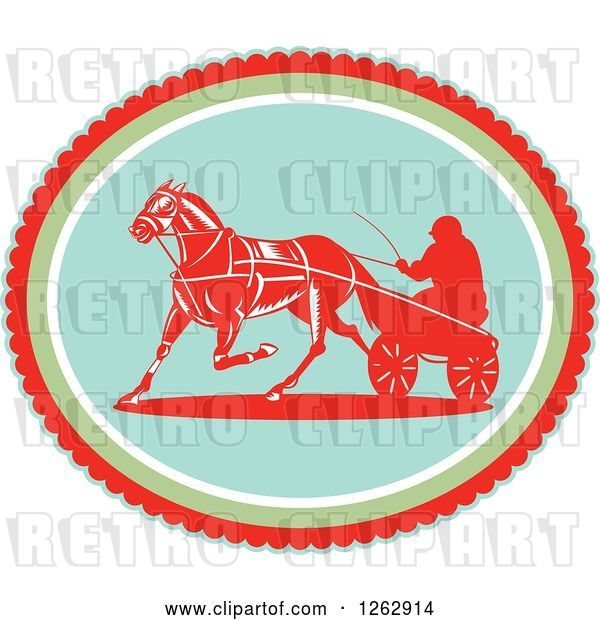 Vector Clip Art of Retro Guy Horse Harness Racing in an Oval